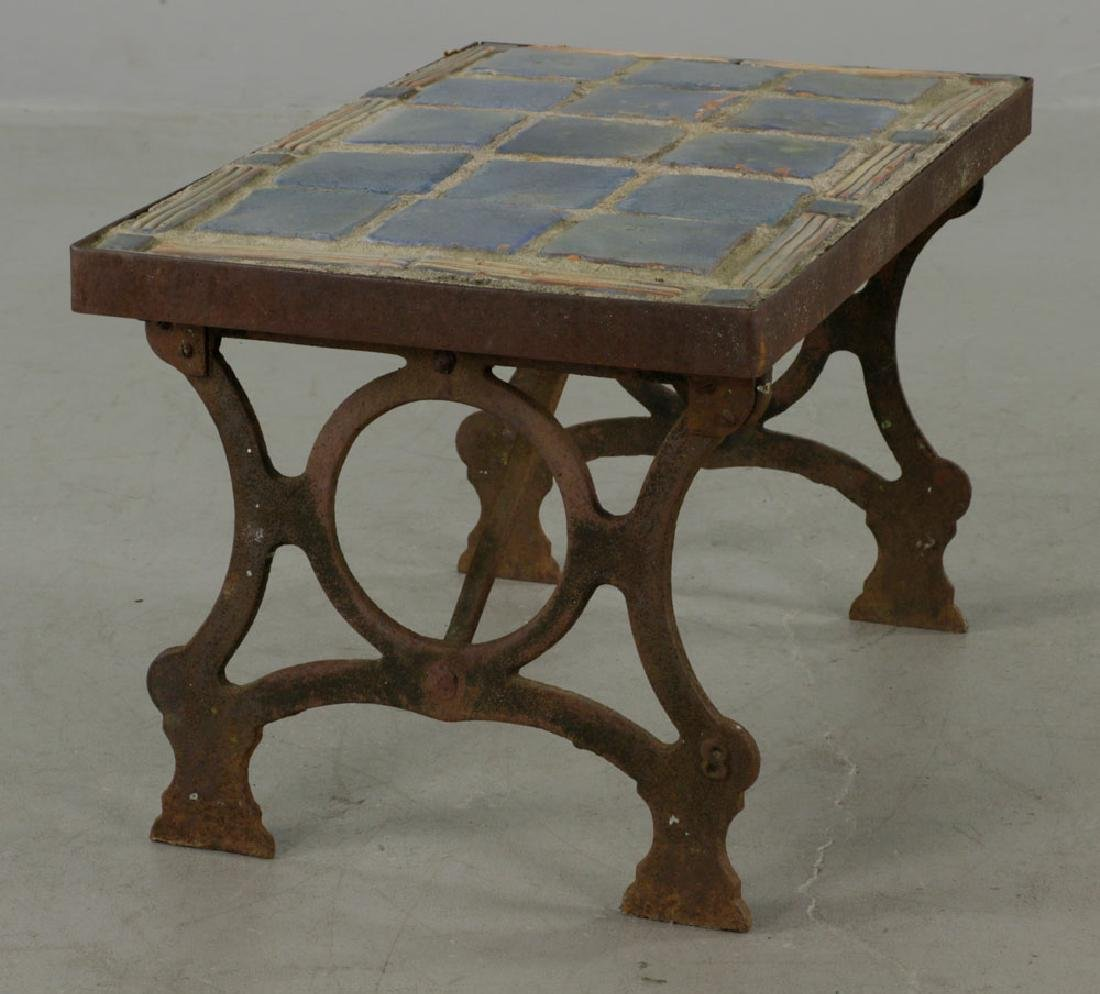 Arts & Crafts Period Blue Tile-top Table - 5