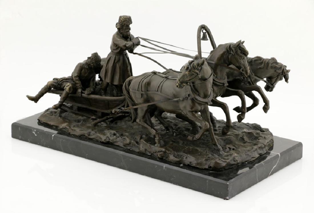 Signed E. Halk, Bronze of Sleigh & Horses