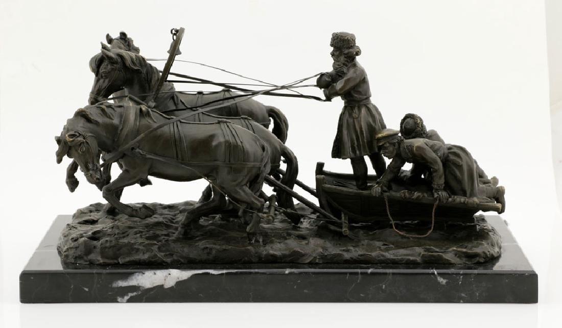 Signed E. Halk, Bronze of Sleigh & Horses - 3