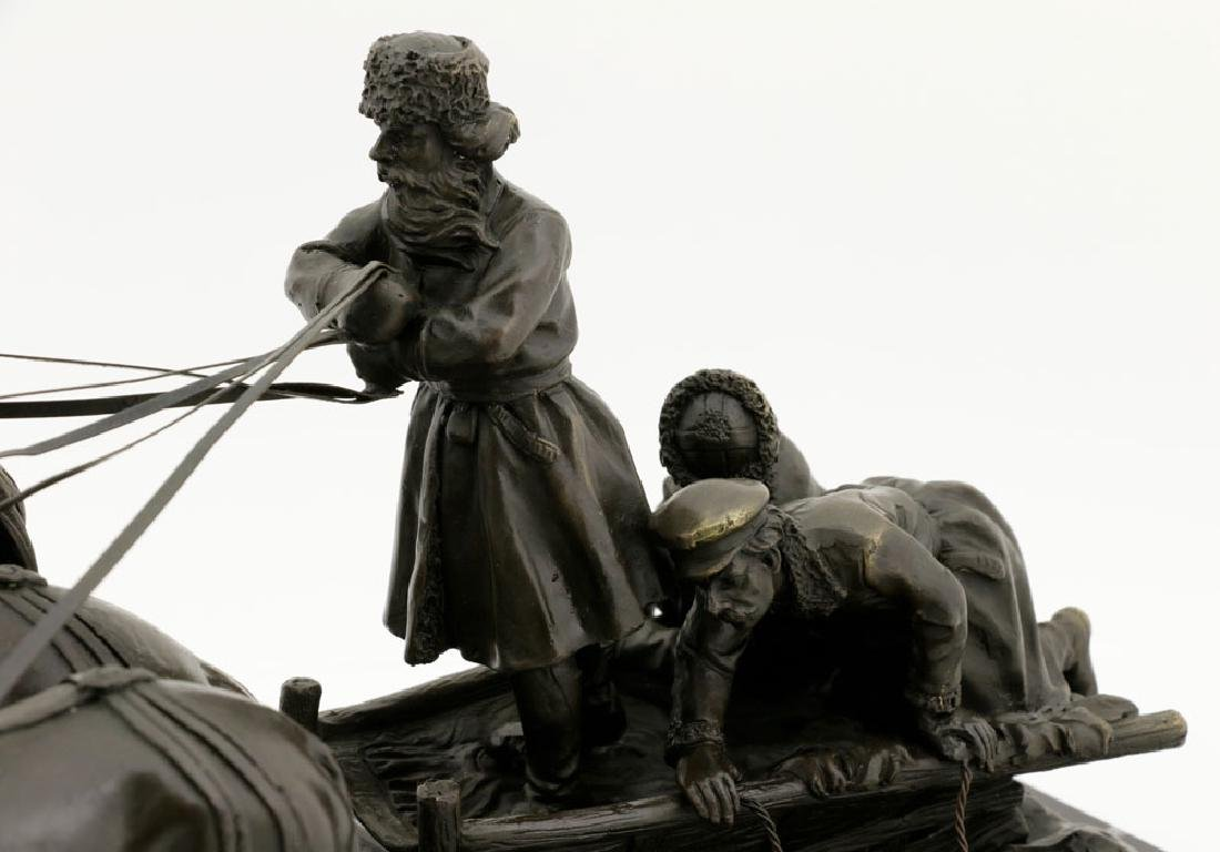 Signed E. Halk, Bronze of Sleigh & Horses - 4