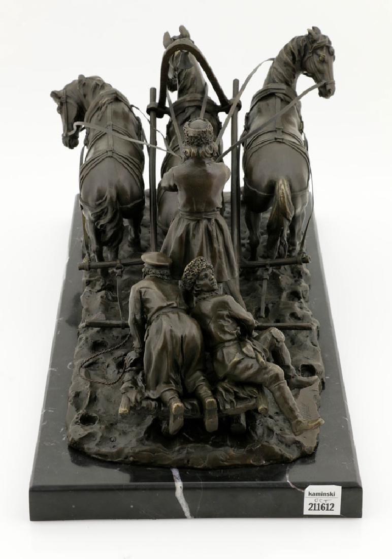 Signed E. Halk, Bronze of Sleigh & Horses - 5