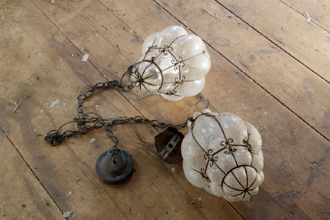 Pr of Venetian Wrought Iron Hanging Light Fixtures - 3