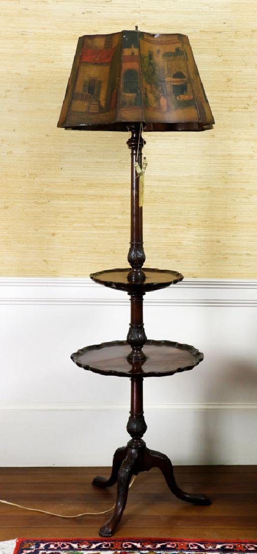Mahogany Pie Crust 2-Tier Table w/ Lamp - 2