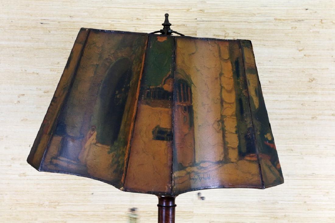 Mahogany Pie Crust 2-Tier Table w/ Lamp - 4