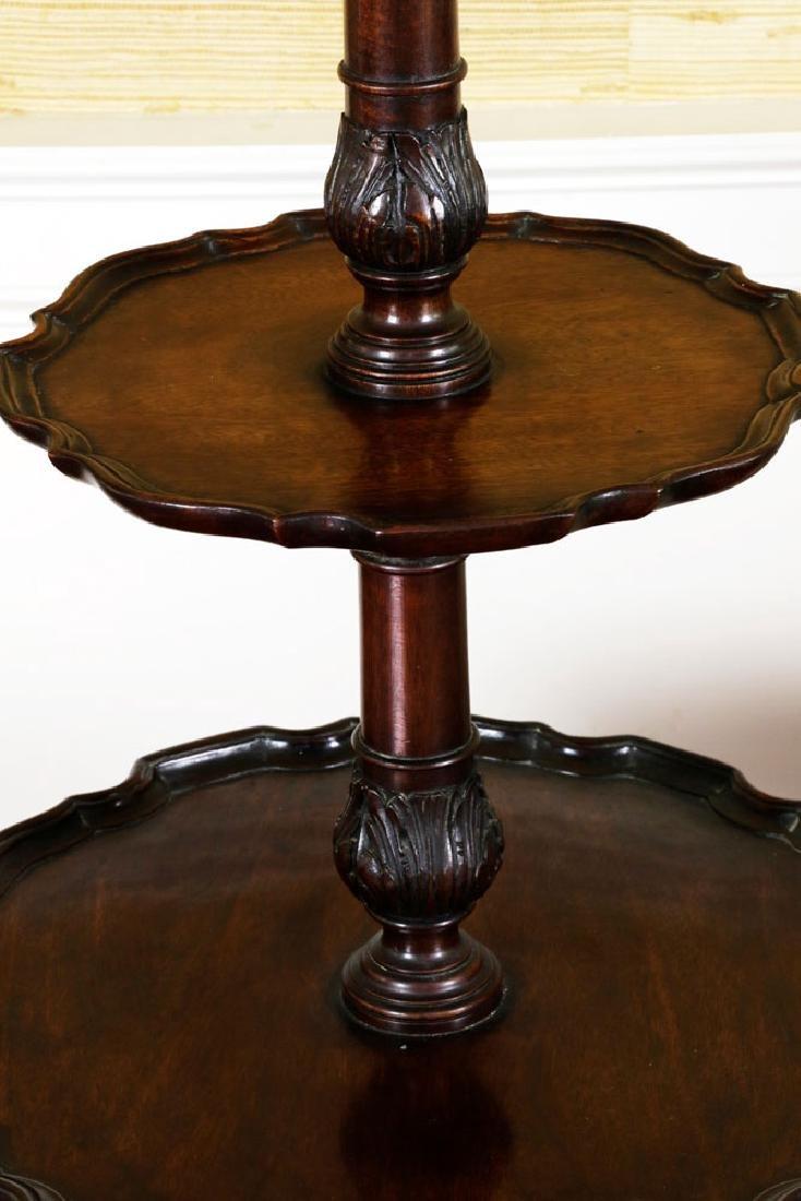 Mahogany Pie Crust 2-Tier Table w/ Lamp - 5