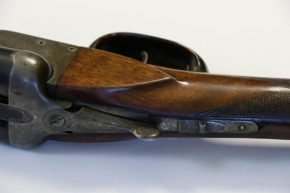 Antique Double-Barrel Shotgun, Engraved - 7