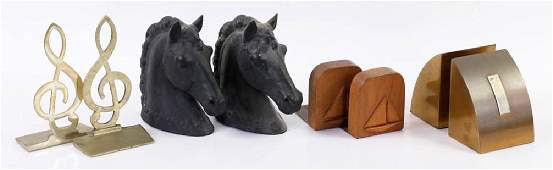 Four Pair of Vintage Bookends Horse Heads
