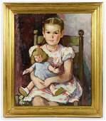 Mildred C. Jones, Little Girl w/ Doll, Oil on Canvas