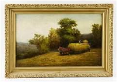 Herbert Fish, Haying on Ridge, Oil on Canvas