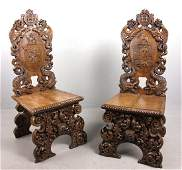 Pr of 19th C. English Carved Chairs, Hearst Estate
