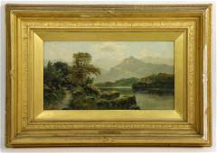 Labeled David Johnson Hudson River Scene Oil on Canvas
