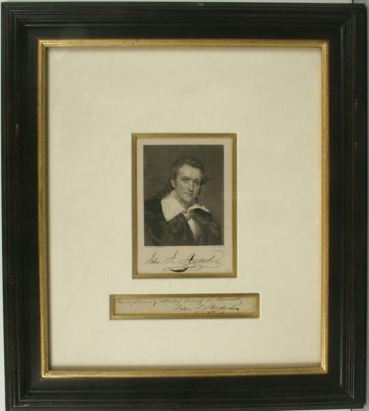 10: CRUIKSHANKS, AUDUBON PORTRAIT & AUTO, C.1855
