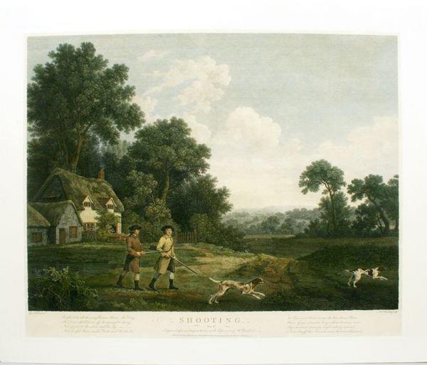 1002: STUBBS, PL.II, SHOOTING, HAND COLOR ENGR,C.1770
