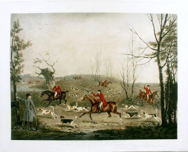 1009: CHALON, FOX HOUNDS, HAND CLR M/M ENGR,C.1821