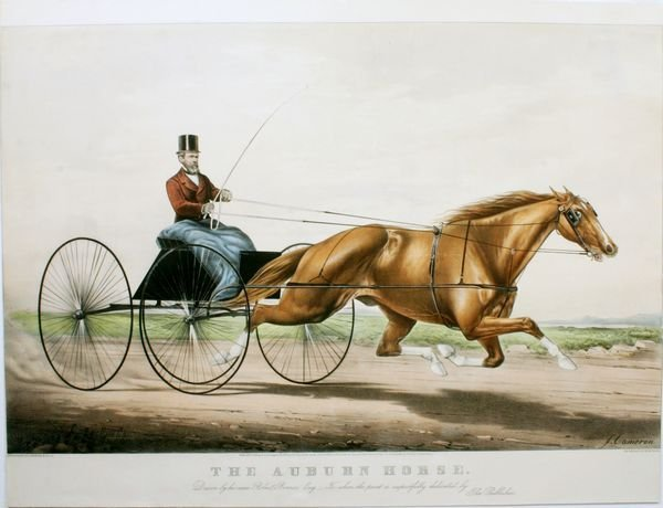 1010: CURRIER & IVES, AUBURN HORSE, HC LITHO, C.1866