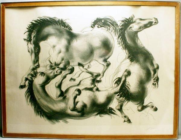 1011A: ERNI, HORSES, LITHOGRAPH, 20TH C.
