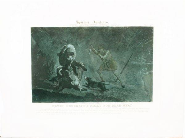 1013: ALKEN, DAVID CROCKETT/BEAR, HC AQUATINT,C.1839
