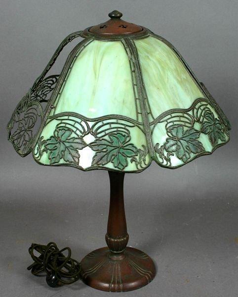 2004: C1915 HANDEL LAMP BASE AND SIGNED SHADE