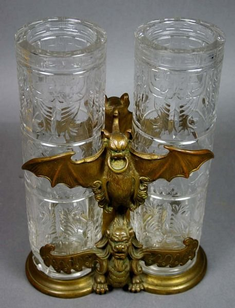 2175: PAIR OF FRENCH VASES IN ART NOUVEAU HOLDERS