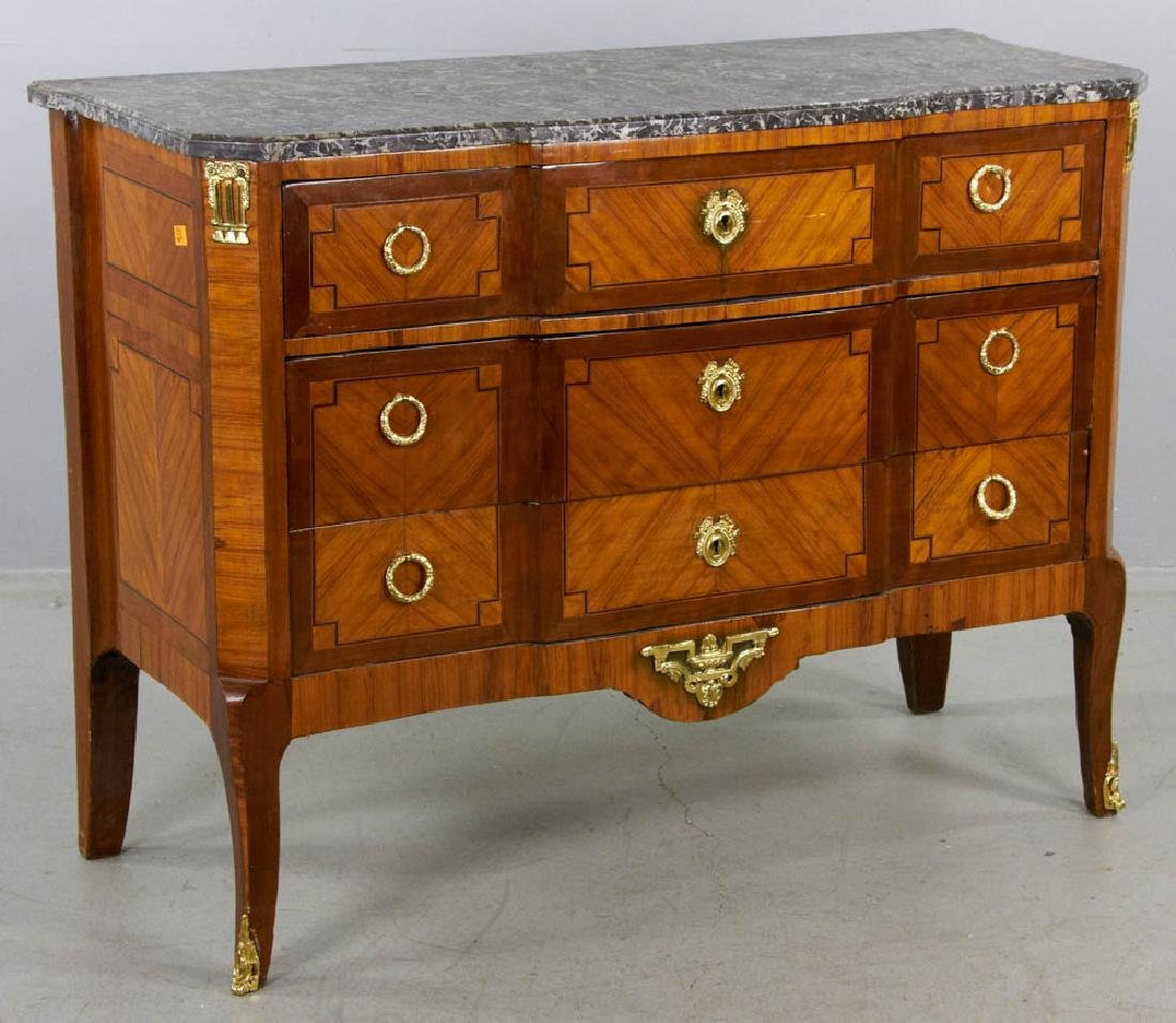 18th C. French Louis XVI Marquetry Chest w/ Marble Top