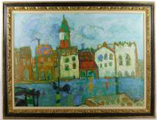 Paul Augustin Aizpiri waterfront scene Oil on Canvas
