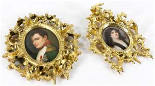 2 Porcelain Plaques one 19th C of Napoleon