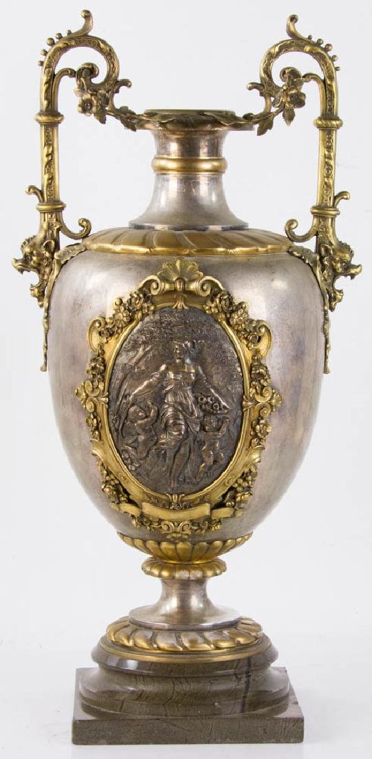 19th C. Bronze and Silver Plate Vase