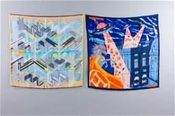 Lot of 2 Hermes Silk Scarves w Hermes Boxes