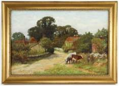 HJ Yeend King Landscape w Cows Oil on Canvas