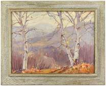 """Emile A. Gruppe, """"Afternoon Birches Catskills"""", Oil on"""