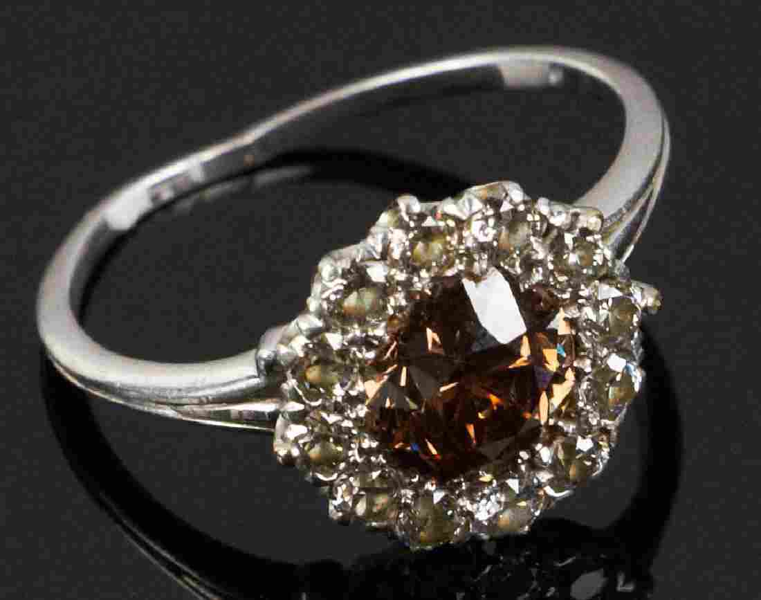 Tiffany 18k White Gold Champagne Diamond Ring