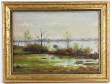 Herbert Cash View of Tiverton RI Oil on Canvas