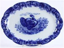 English Flow Blue Turkey Platter Marked Wedgwood
