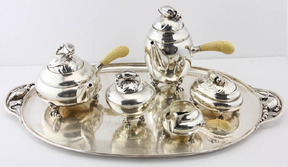 """Georg Jensen """"Blossom"""" Sterling Tea Set"""
