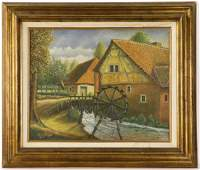 Signed H. Corbey, 1943, Grist Mill, Oil on Canvas