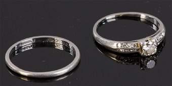 C1930 Platinum Diamond Engagement Ring & Band