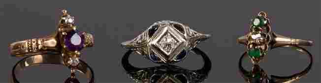 Three Ladies 14k Gold Rings w Diamonds