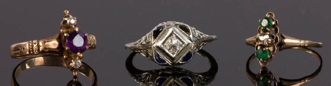 Three Ladies' 14k Gold Rings w/ Diamonds