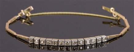 Vintage 1920s 14k Diamond Bracelet