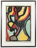 Signed Atlam, Abstract Print, Framed