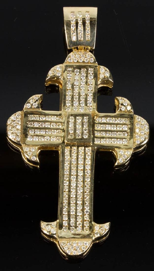 14K Yellow Gold and Diamond Cross