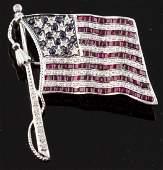 18k White Gold American Flag Pin w/ Gemstones