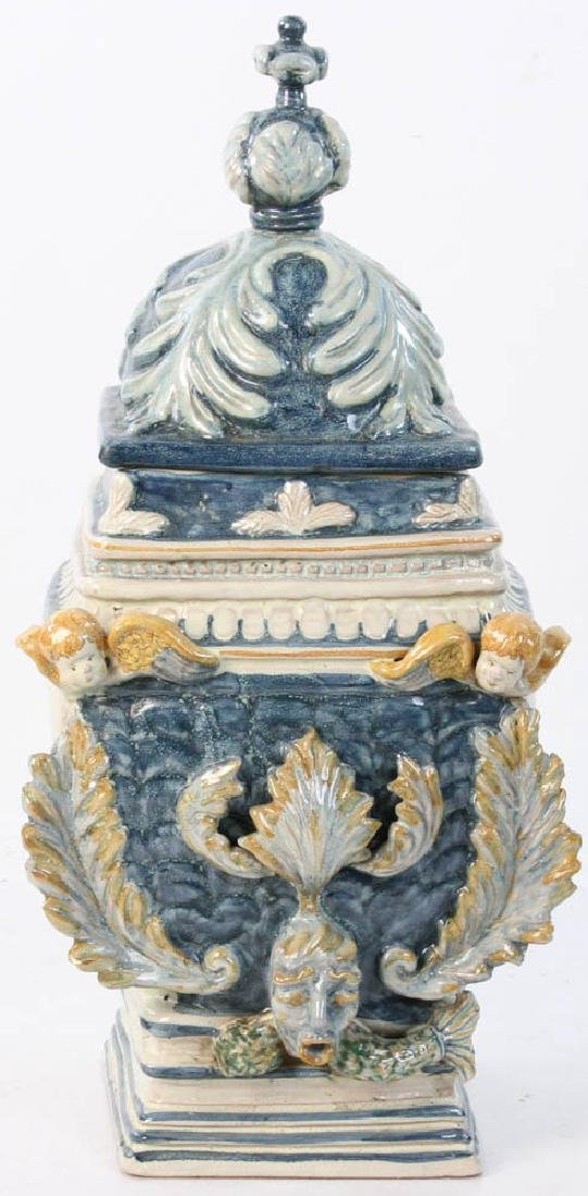Alessi Caltagirone Glazed Covered Urn