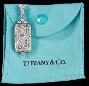Tiffany Deco Platiinum Diamond Pendant Watch
