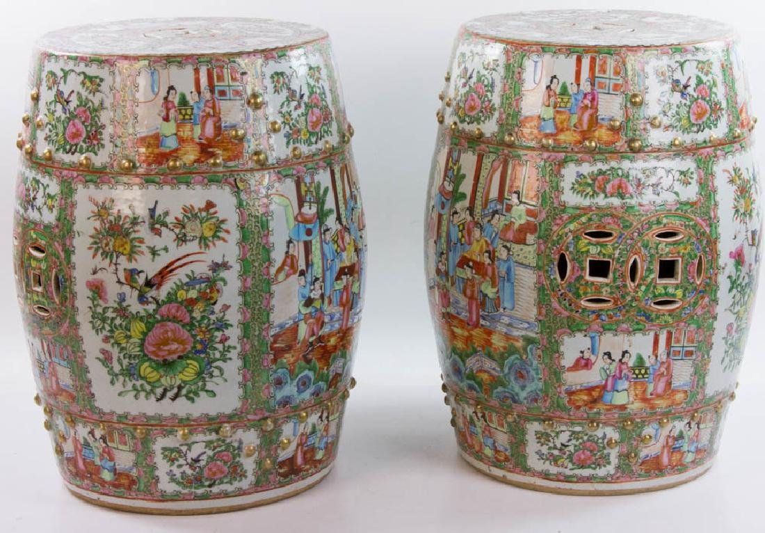 Pair of 19th C. Chinese Rose Medallion Garden Seats