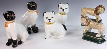 Staffordshire Style Figures of Dogs and Lions