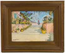 Jane Peterson, Garden in Palma, Mallorca, Oil on Board