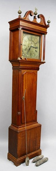 3001: 18th C. ENGLISH OAK TALL CLOCK, PETER OVERS