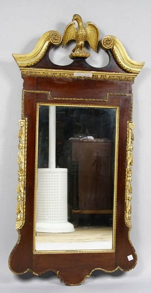 3003: 19th C. FEDERAL MAHOGANY MIRROR, EAGLE FINIAL