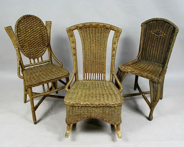 3004: 19/20th C. WICKER ROCKER AND (2) SIDE CHAIRS
